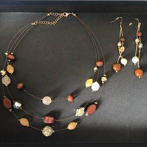 Lightweight floating beaded necklace & earrings